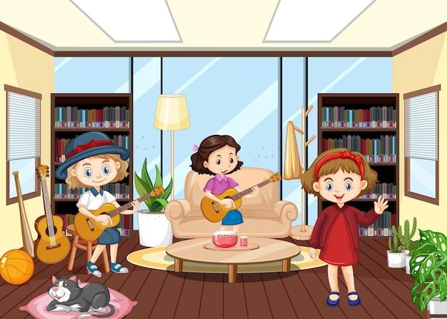 Innenraum des wohnzimmers mit kindern
