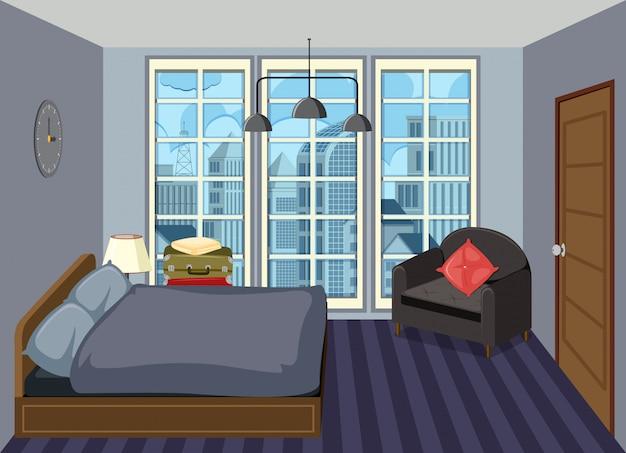 Innenraum eines modernen schlafzimmers