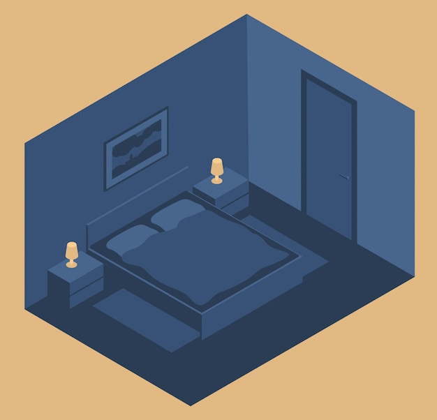 Innenraum eines schlafzimmers mit einem bett und nachttischen in der nacht. im isometrischen stil
