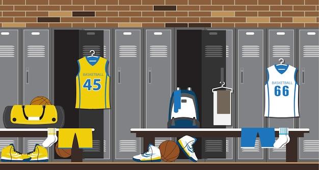 Innenraum eines turnhallenumkleideraums. basketball sport fitness club umkleidekabine.