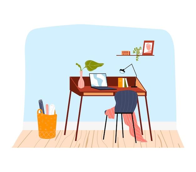 Innenraum im haus, bürotisch in der wohnung, computer am arbeitsplatz, karikaturartillustration, lokalisiert auf weiß. geschäft zu hause isoliert, moderner arbeitsbereich, schreibtischbücher und laptop