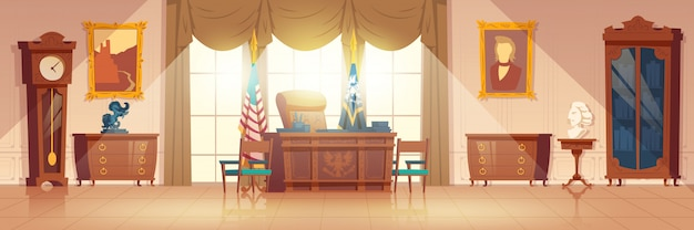 Innenraum-karikaturvektor des präsidenten ovaler kabinett