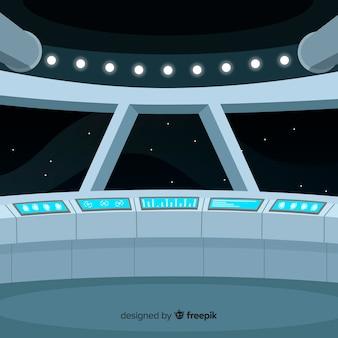 Innenraumschiffdesignhintergrund mit flachem deisgn