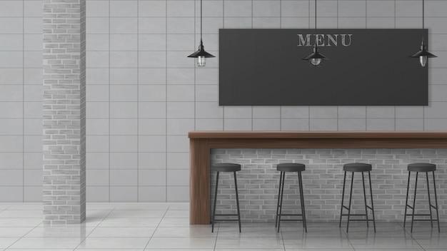 Innenraumvektor des minimalistischen designs der bar oder der kneipe