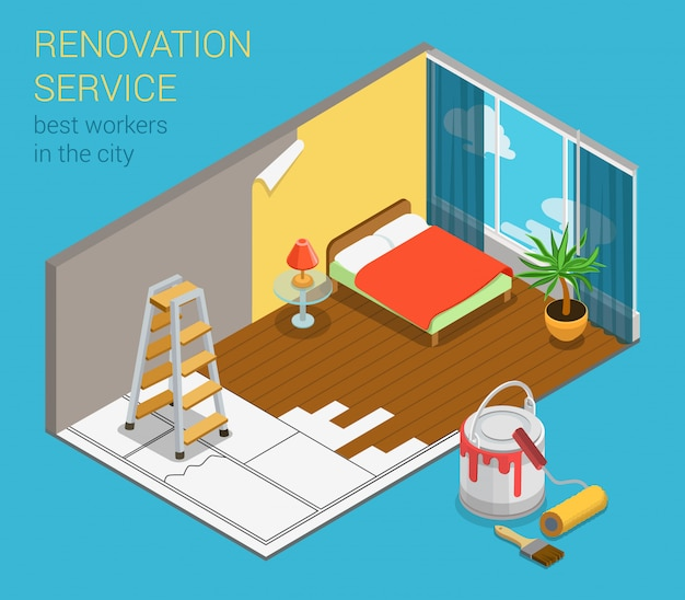 Innenrenovierung des isometrischen konzeptschlafzimmers des hauptwohnungsraumerneuerungsservice-geschäfts mit neuer tapetenfarbenleiter