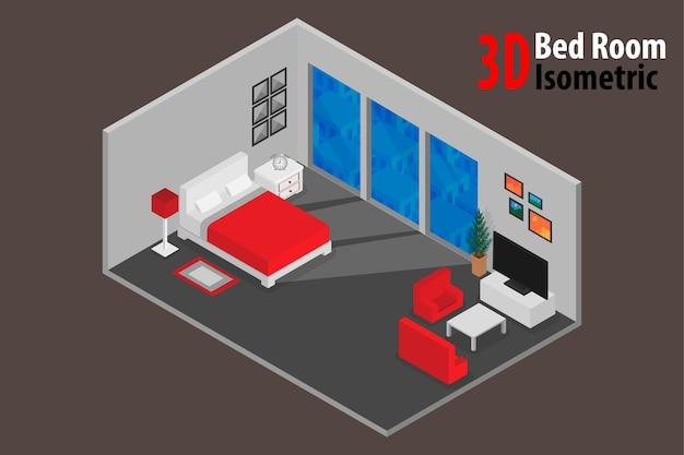 Innenschlafzimmerentwurf mit bett und zusatz