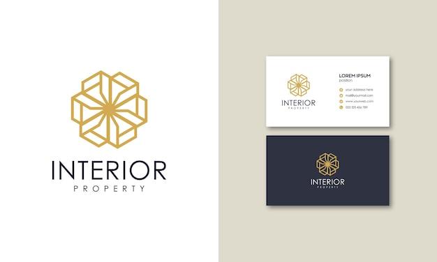 Innere geometrische linien von luxuslogos mit visitenkarten