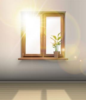 Innere. holzfenster mit einer pflanze und sonne, die durch das glas scheinen.