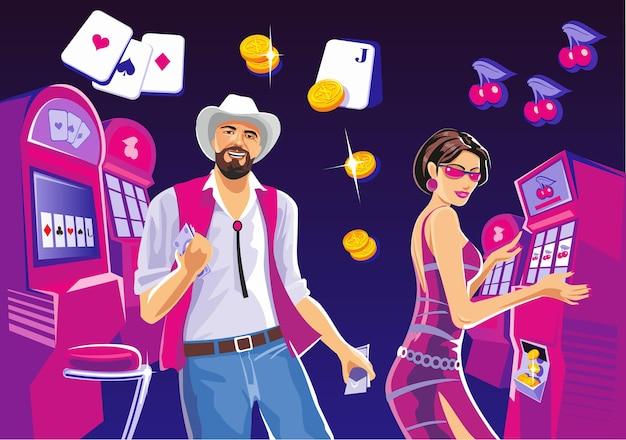 Inneres casino mit leuten glückliche frau, die spielautomaten spielt