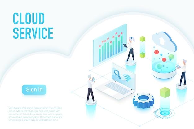 Innerhalb des arbeitsprozesses des cloud-dienstes, isometrische darstellung der big-data-website-seite