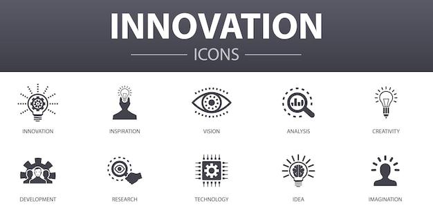 Innovation einfaches konzept icons set. enthält symbole wie inspiration, vision, kreativität, entwicklung und mehr, kann für web, logo, ui/ux verwendet werden