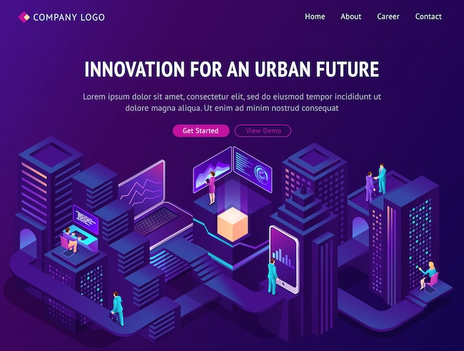 Innovation für die isometrische landingpage der städtischen zukunft