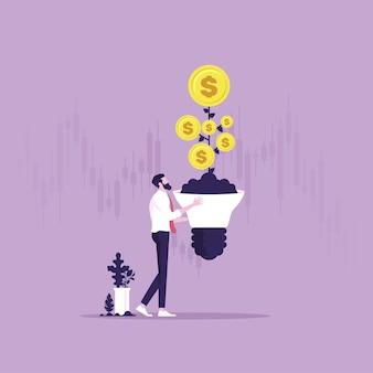 Innovation und kreativität, um gewinninvestitionen oder finanzplanungskonzepte zu machen