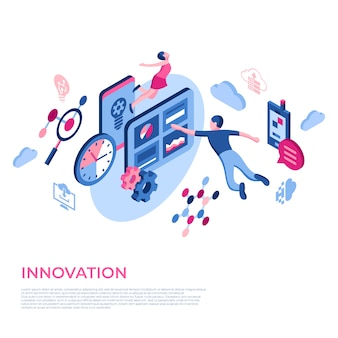 Innovations-technologieikonen der virtuellen realität mit leuten