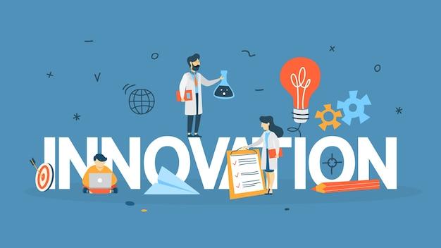 Innovationskonzept. idee innovativer technologie. kreativer kopf. glühbirne als metapher der idee. linienillustration