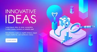 Innovative Ideenillustration der Lampe oder der Glühlampe für digitales Marketing