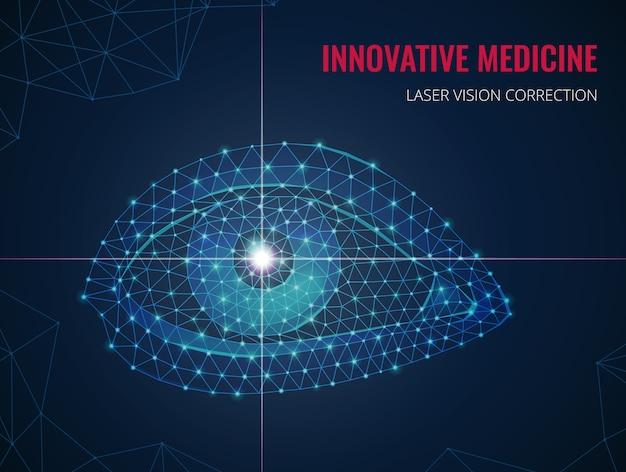 Innovative medizin mit bild des menschlichen auges im polygonalen drahtgitterstil und werbung der vektorillustration der lasersichtkorrektur