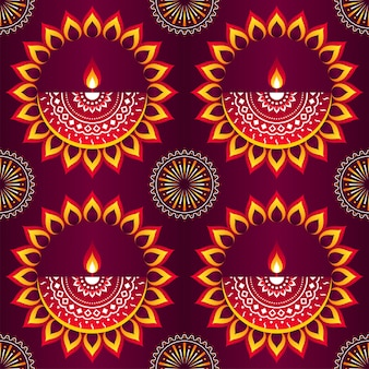 Innovative öllampen (diya) mit mandala-muster-hintergrund.