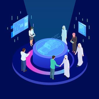 Innovative technologien im maschinenbau. isometrisches vektorkonzept des internationalen geschäftsentwicklungsautos