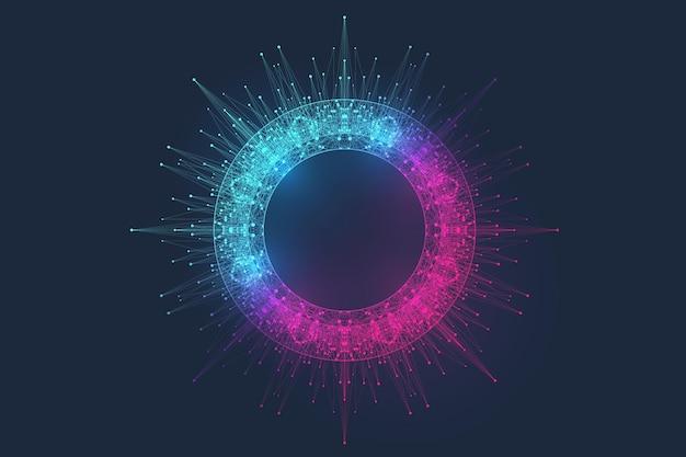 Innovative vektorgrafik für die verarbeitung von big-data-quantencomputertechnologien, analyse und strukturierung von informationen. big-data-algorithmen für maschinelles lernen, künstliche intelligenz.