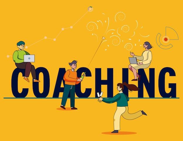 Inschrift coaching, großbuchstaben und menschen