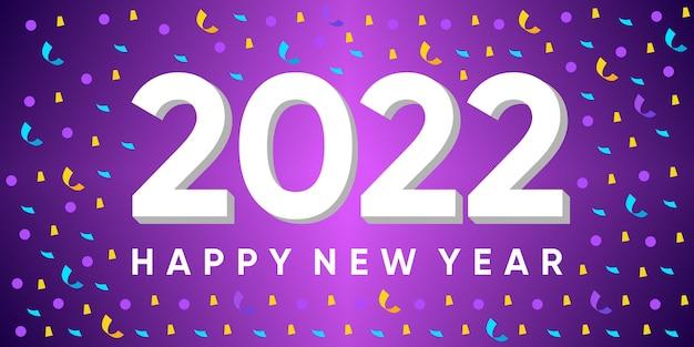Inschrift frohes neues jahr 2022 auf hintergrund mit explodierendem konfetti. vektor-premium