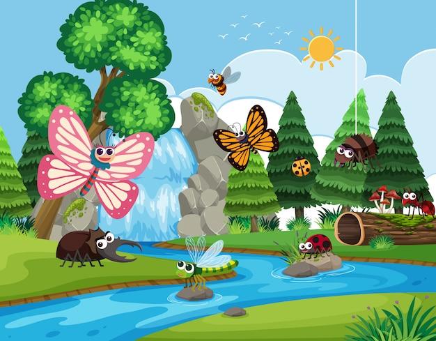 Insekten in der flussszene
