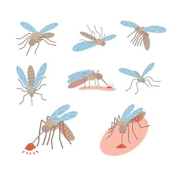 Insekten-mücken-schädlings-set für abweisendes ölspray und patches anzeigen plakat fliegend liegend blutsaugend...