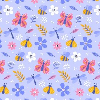 Insekten und blumenmuster