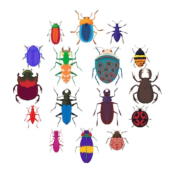 Insektenwanzenikonen eingestellt, karikaturart