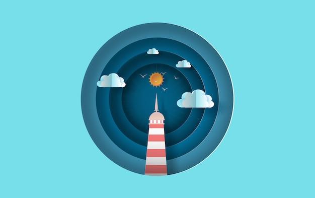 Insel mit leuchtturm auf seeansichtsonnenlicht