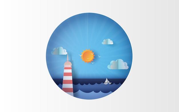 Insel mit leuchtturmboots-seeansicht