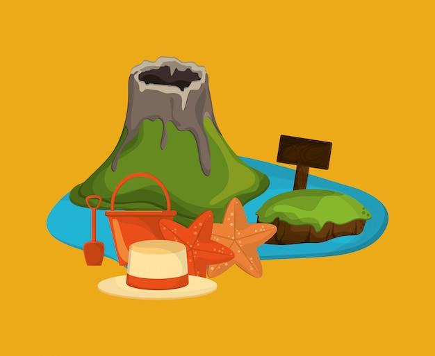 Insel mit urlaubsreise-ikonenbild