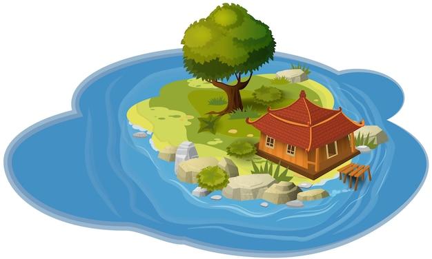 Inselkonzept, für computerspiele und anwendungen, hütte, derv, felsen, meer, karte, fahne, vektor, illustration