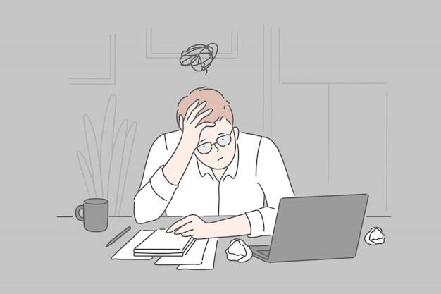 Insolvenz, burnout, zusammenbruch.