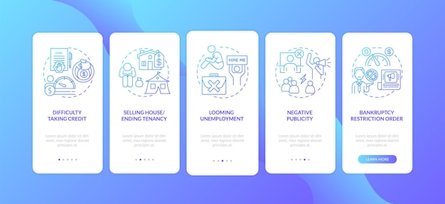 Insolvenz negative auswirkungen dunkelblau onboarding mobile app seite bildschirm mit konzepte isoliert