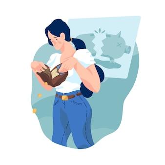 Insolvenzfrau ohne geld in ihrer brieftasche