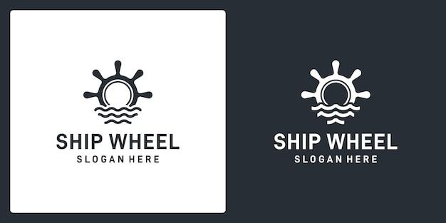 Inspiration des steuerrads von schiffen und booten mit der form von meereswellen. premium-vektor