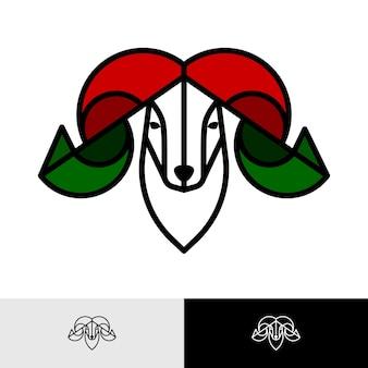Inspiration für das design des farbenfrohen widderkopf-logos