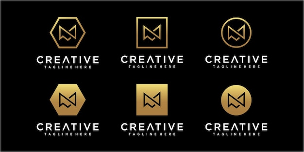 Inspiration für das design des minimalistischen anfangsbuchstaben m-logos