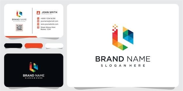 Inspiration für das design des modernen logos für die technologie des buchstaben l. buchstabe l logo für ihr unternehmen mit visitenkarte