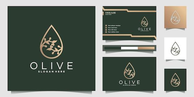 Inspiration für das design des olivenöl-logos mit einzigartigem konzept und visitenkarte premium-vektor