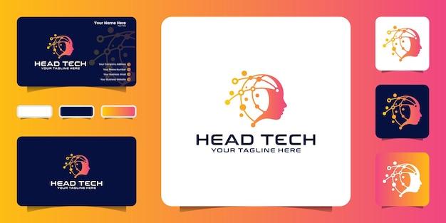Inspiration für das design des technologiekopf-logos mit verbindungslinien und visitenkarten