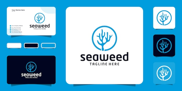 Inspiration für das design von algen-logos, korallenriffen und inspiration für visitenkarten
