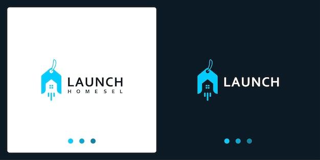 Inspiration für das home-sale-logo und das launch-logo. premium-vektoren.