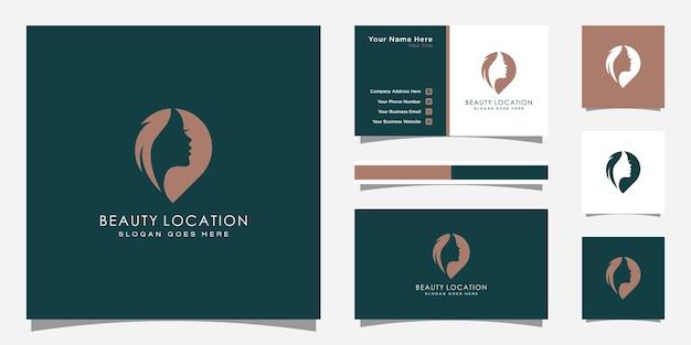Inspiration für das logo der frau. vorlage für das design des weiblichen pin-logos. frauenfinder-logo und visitenkarten-design