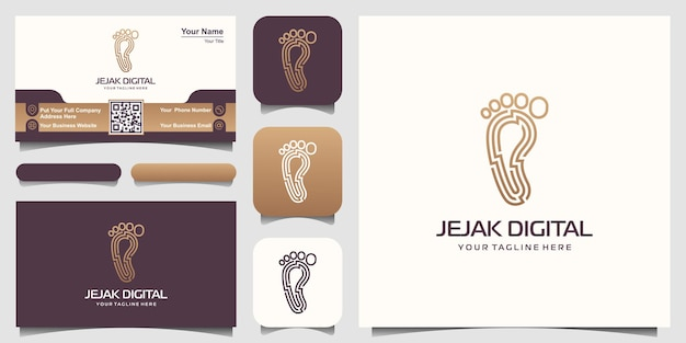 Inspiration für das logodesign der digitalen modernen technologie des fußabdrucks