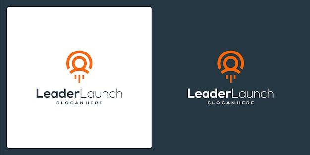 Inspiration für die form eines leader-logos und eines launch-logos. premium-vektor