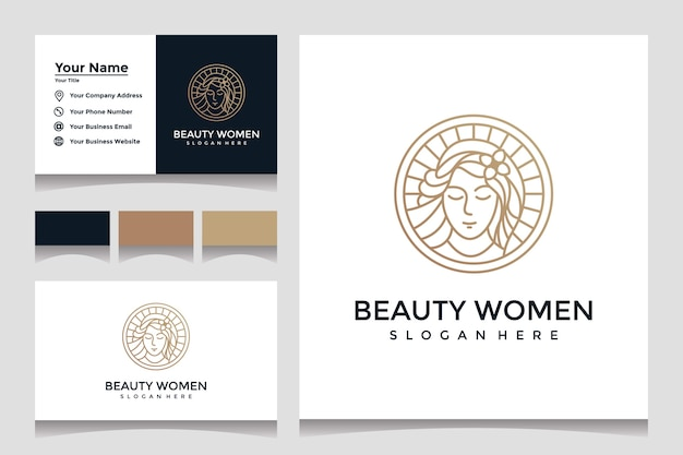 Inspiration schöne dame logo design-vorlage mit strichzeichnungen stil und visitenkarte design