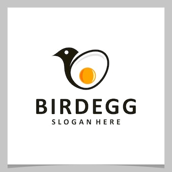 Inspirationslogo-design-ei mit vogellogo. premium-vektor